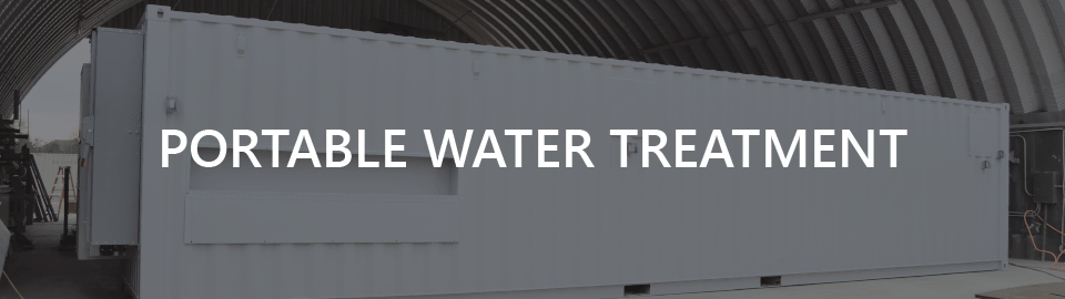 Banner for case study on conex water treatment equipment enclosure.