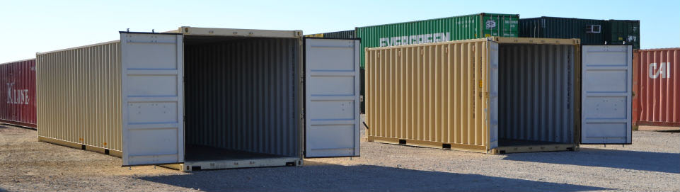 40-foot and 20-foot storage containers.