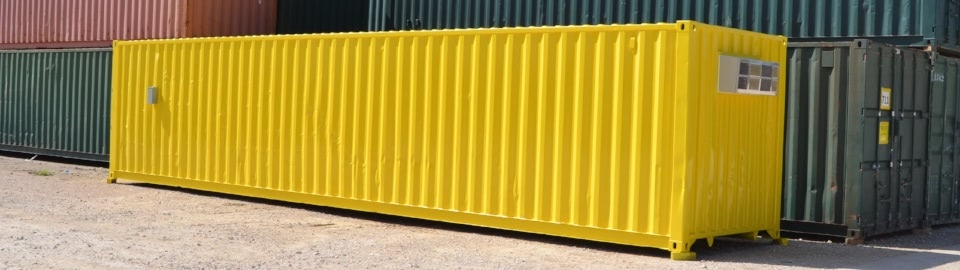 Conex containers modified into storage solutions with doors and climate control.