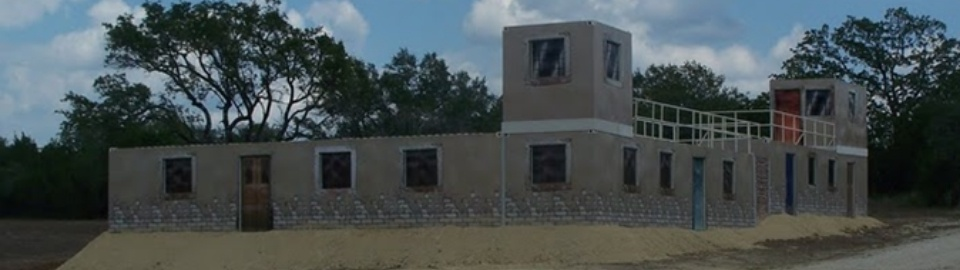 Military training building constructed from shipping containers