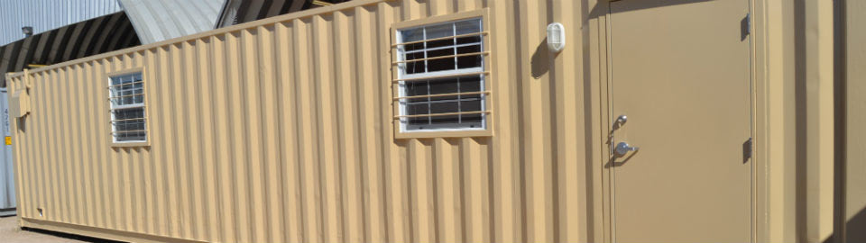 Shipping container ground level office solutions