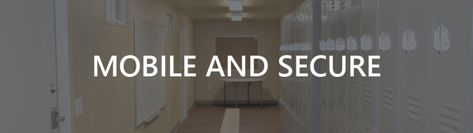 Banner for portable locker rooms with showers: mobile and secure