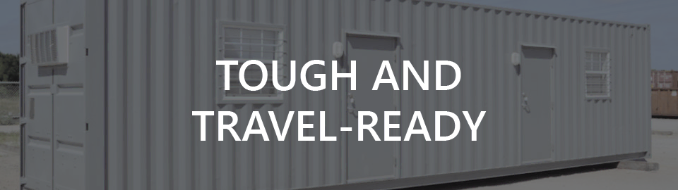 Banner for Shipping Container Man Camps: Tough and travel ready