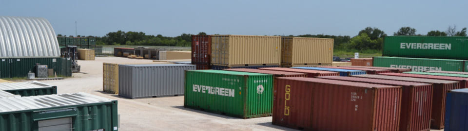Shipping containers in Falcon Structures' manufacturing facility.