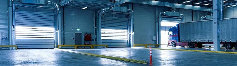 Interior of a warehouse.