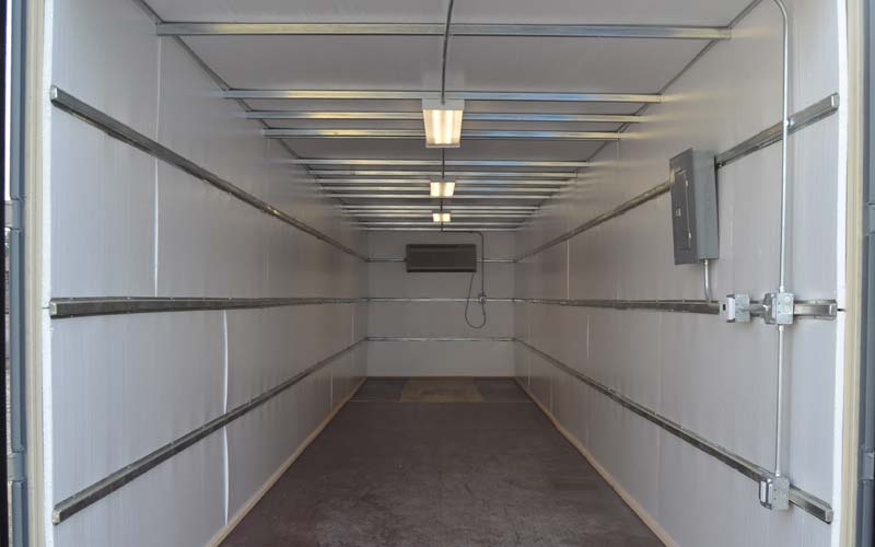 Climate controlled storage container with styrofoam insulation