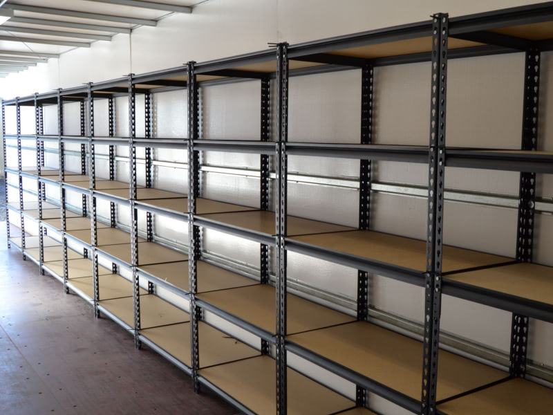 Accessory #6: Shelving installed inside conex.