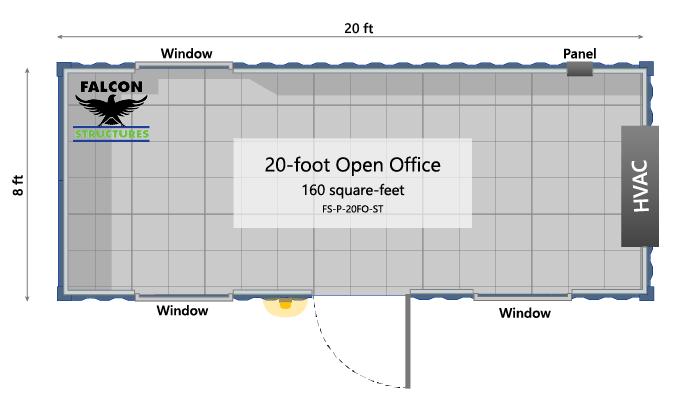 20ft portable open office floorplan