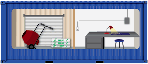 Concept for construction office divided into a storage space and work space.