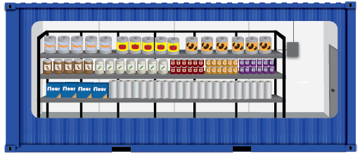 Concept for a container-based dry goods store room.