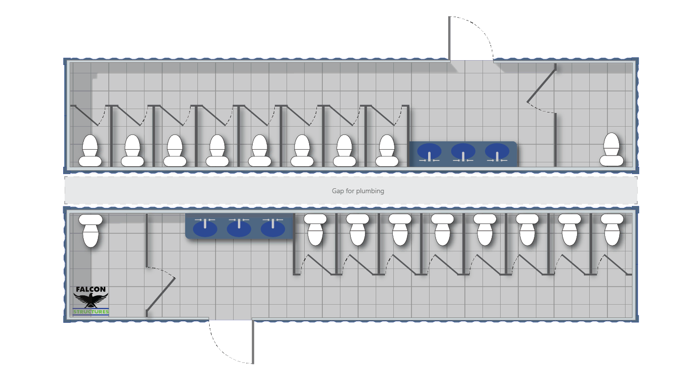 Layout for an ADA compliant conex restroom building