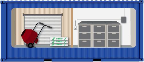 Illustration of shipping container partitioned for construction storage.