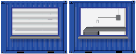 Concepts for 10-foot container security booths.
