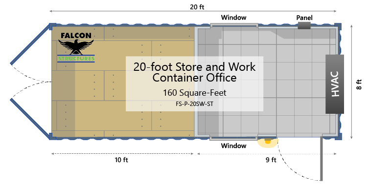 20ft portable building floor plan with storage and office space