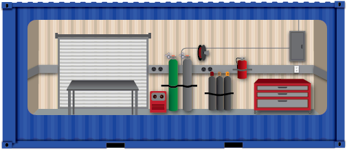 Illustration of a mobile welding shop in a conex container.