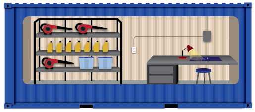 Onsite storage container with workshop space