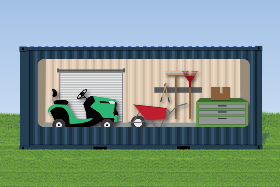 Concept for shipping container converted to landscaping storage or workshop