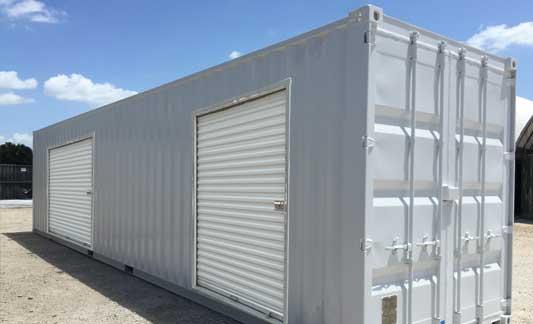 Dual overhead door container exterior