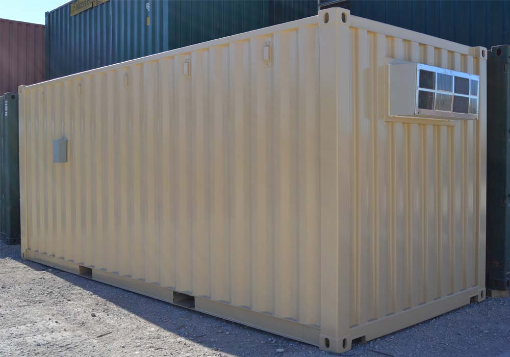 Outside of 20-foot climate controlled storage container