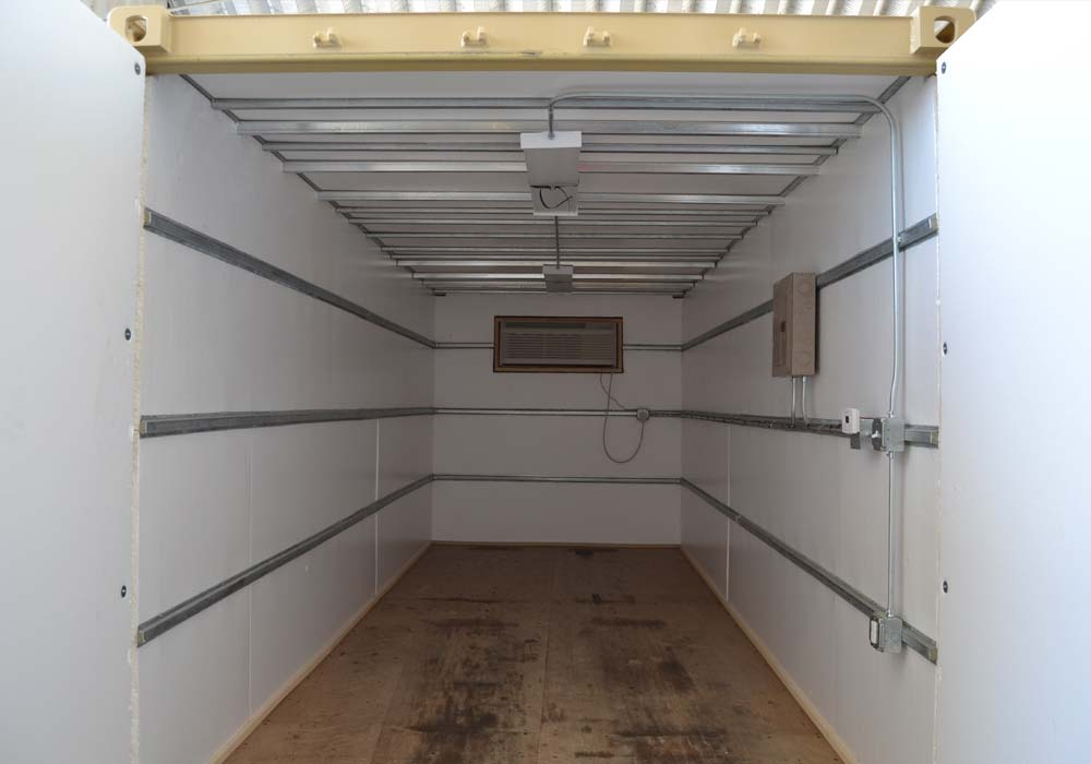 Inside of 20-foot climate controlled storage container
