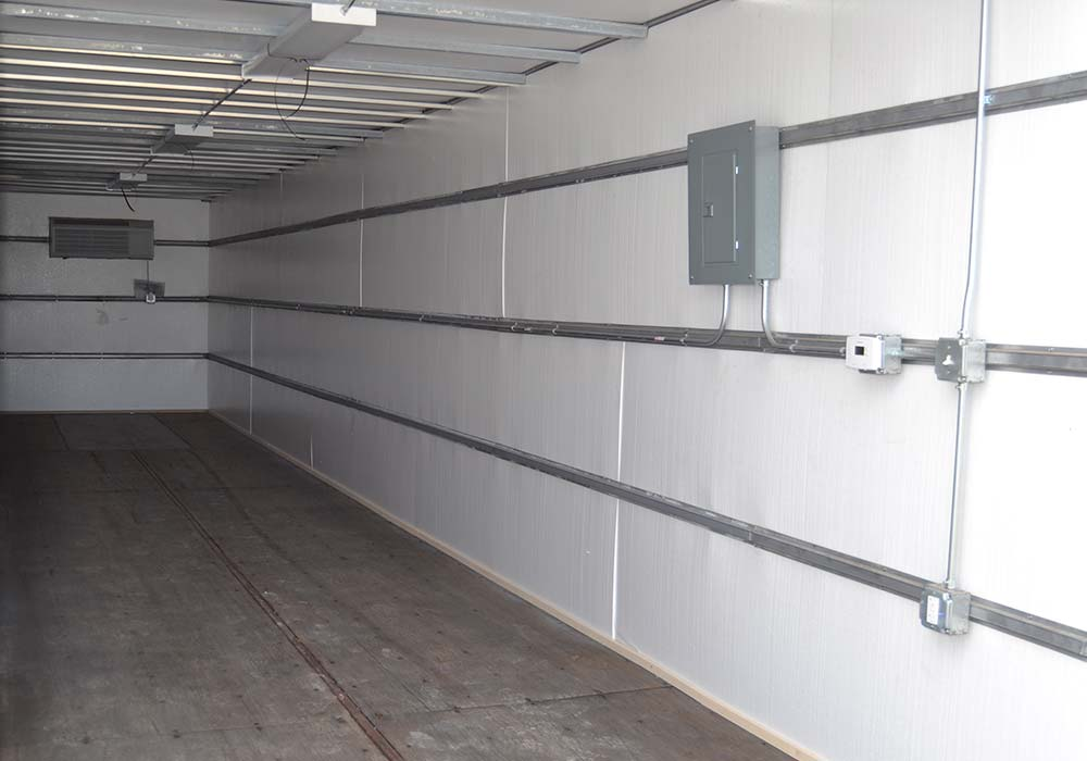 Inside of 40-foot climate controlled storage container