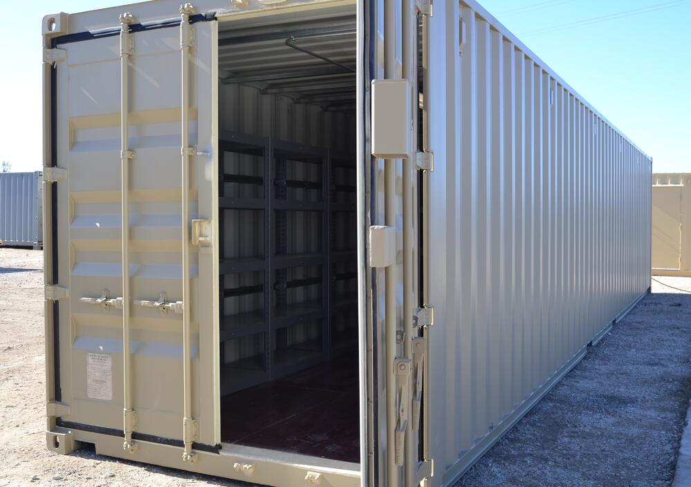 Open unmodified container with shelving