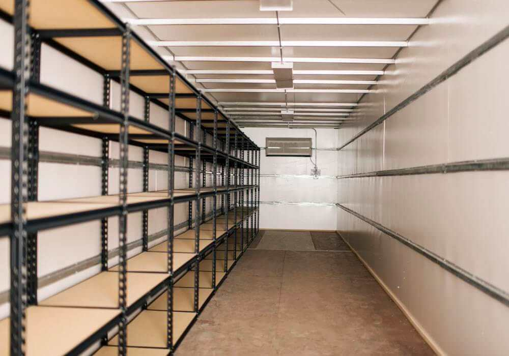 Interior shot of shelving climate controlled container