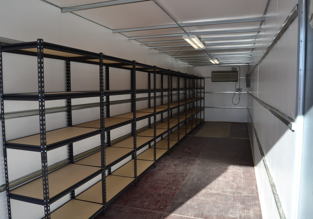 Single row shelving 40 ft climate controlled container