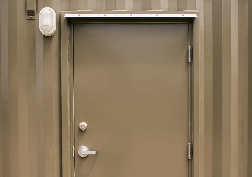 Personnel door on 20 ft storage container