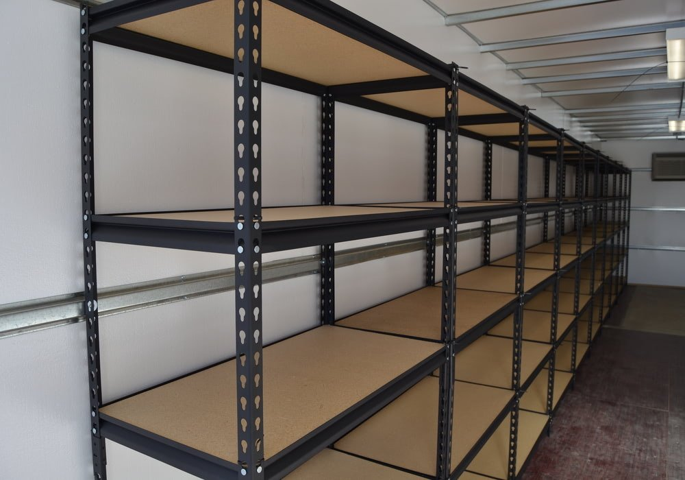 Interior of storage container with shelving