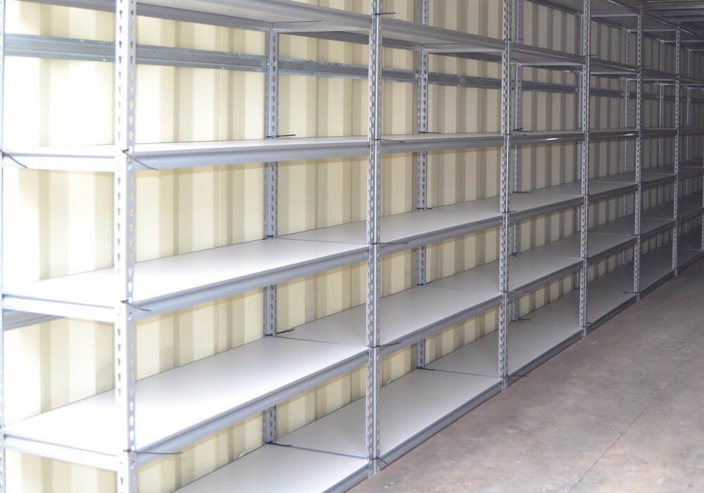 Shelving in a non-climate controlled container