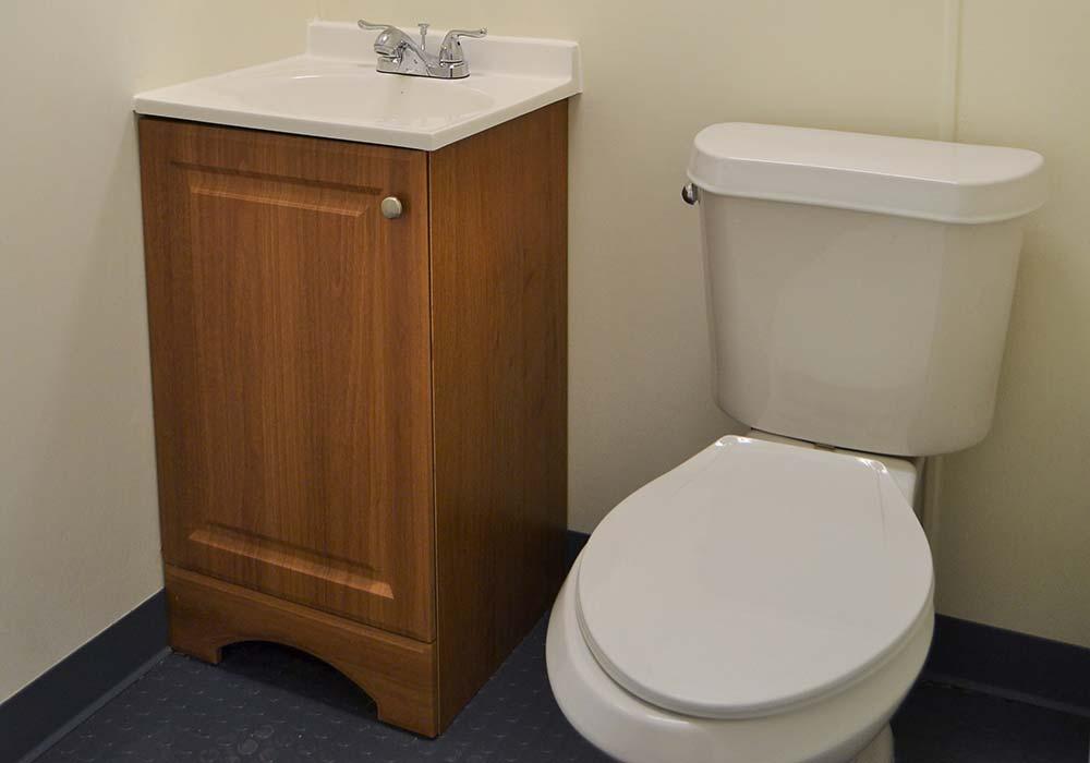 Half bath vanity toilet