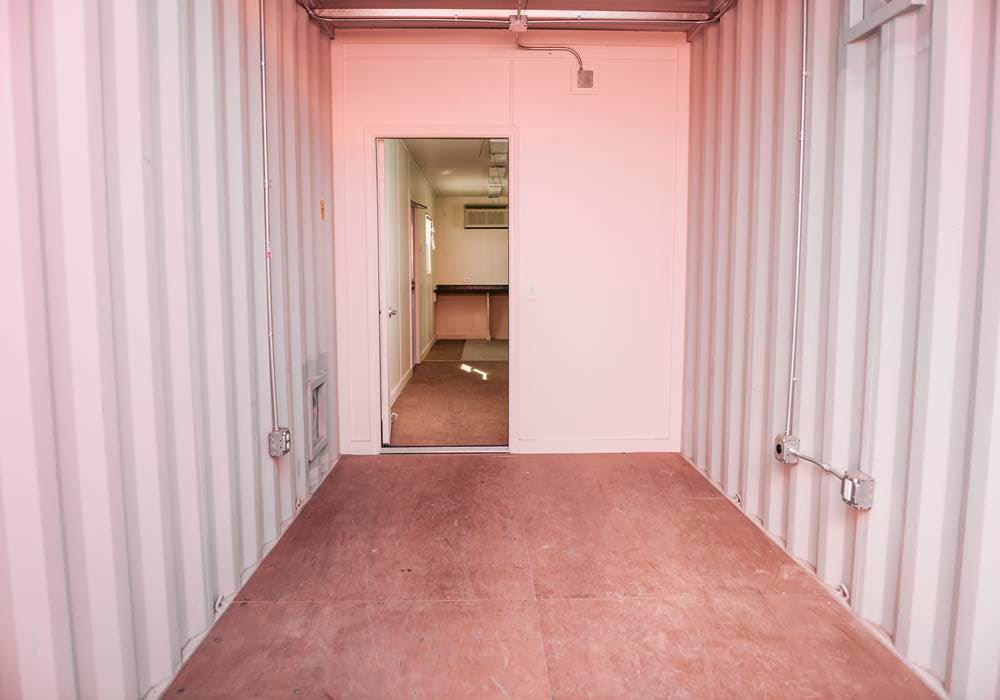 Interior of 40 ft sore and work container office