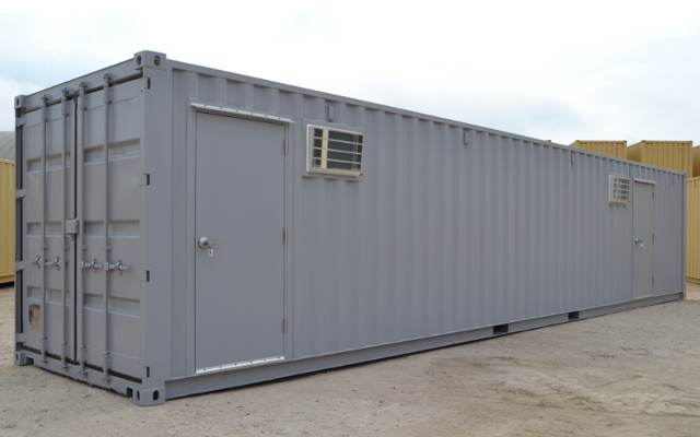 Grey storage container with exterior door