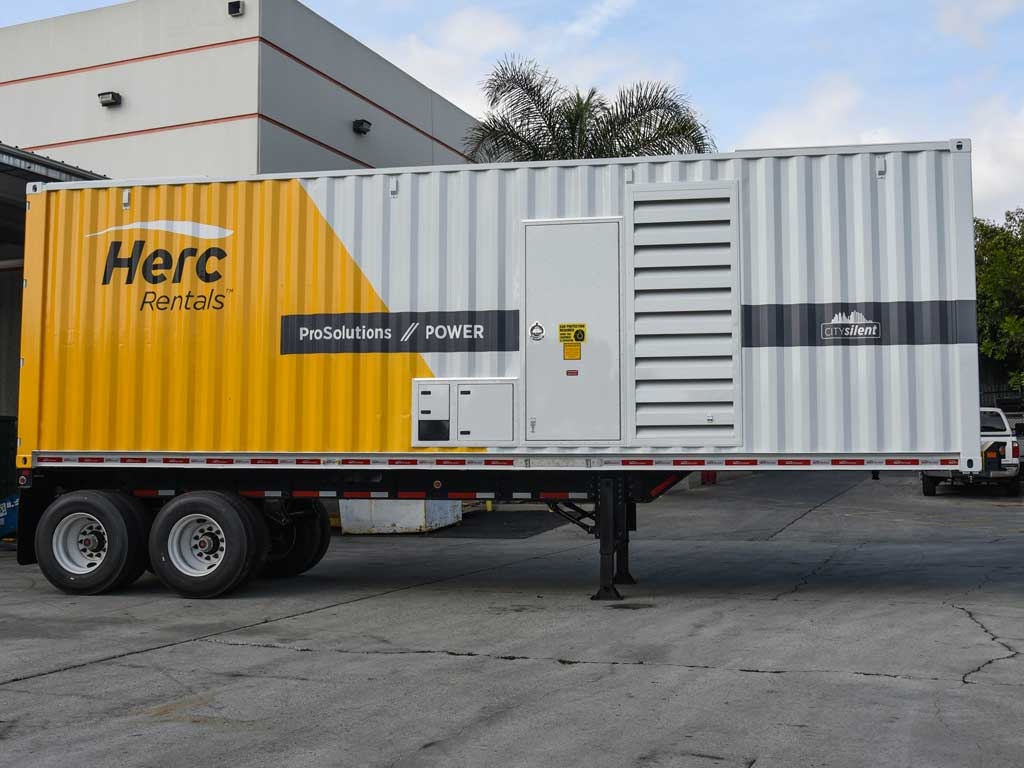 Generator rental container from the side