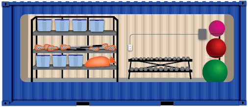 Graphic of blue storage container with side cutout with athletic equipment inside