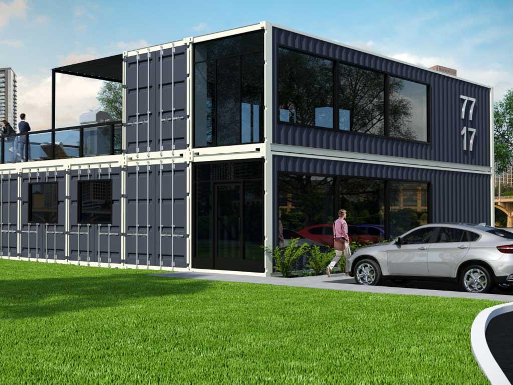 Multi-container apartment exterior rendering