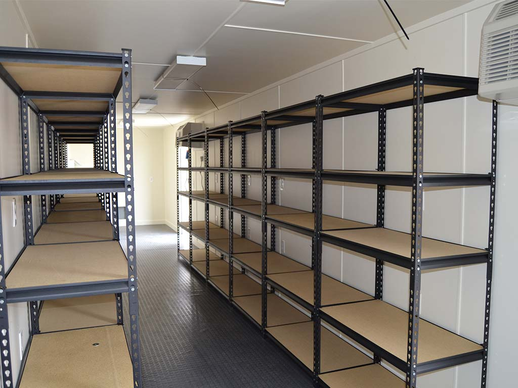 Shelving in storage container