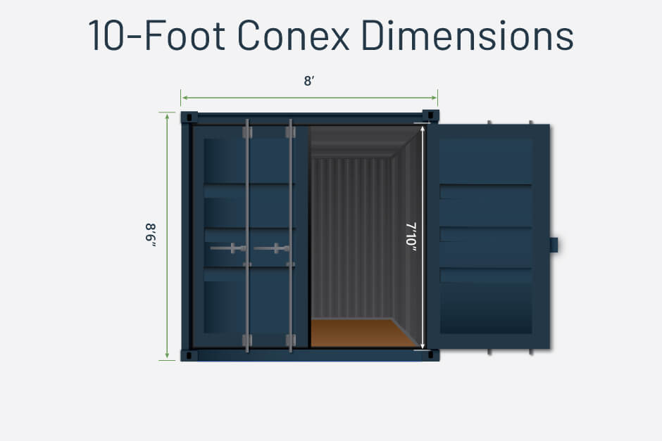 10ft shipping container dimensions graphic
