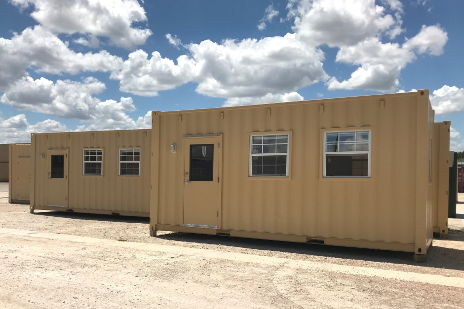 two mobile shipping container offices with multiple windows
