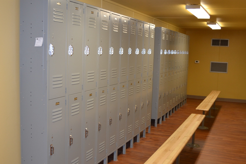 locker room design in a shipping container