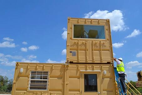 Multi container building designed by falcon strucutres