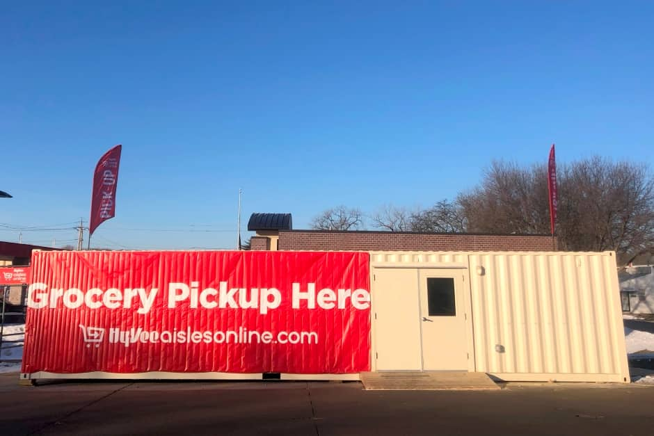 HyVee curbside grocery pickup shipping container