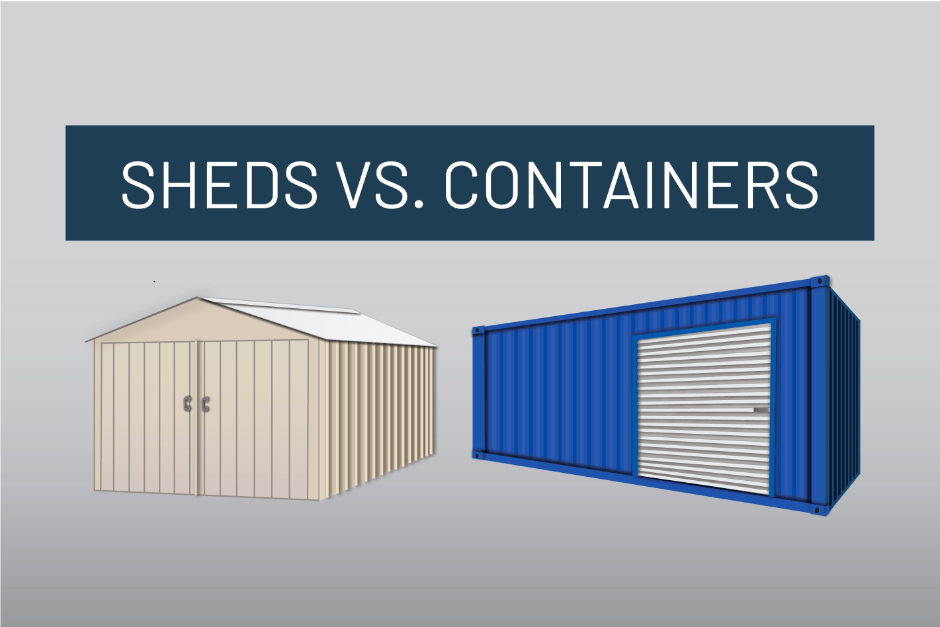 white shed and blue container graphic rendering