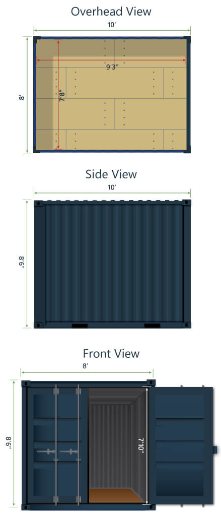 10ft shipping container interior exterior dimensions