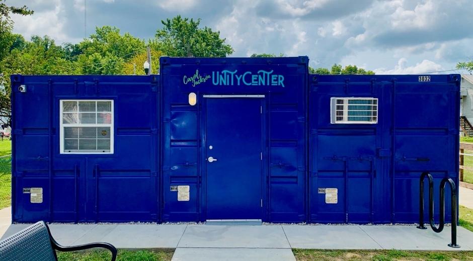 shipping container East Ashland neighborhood Community Center with Unity Center signage