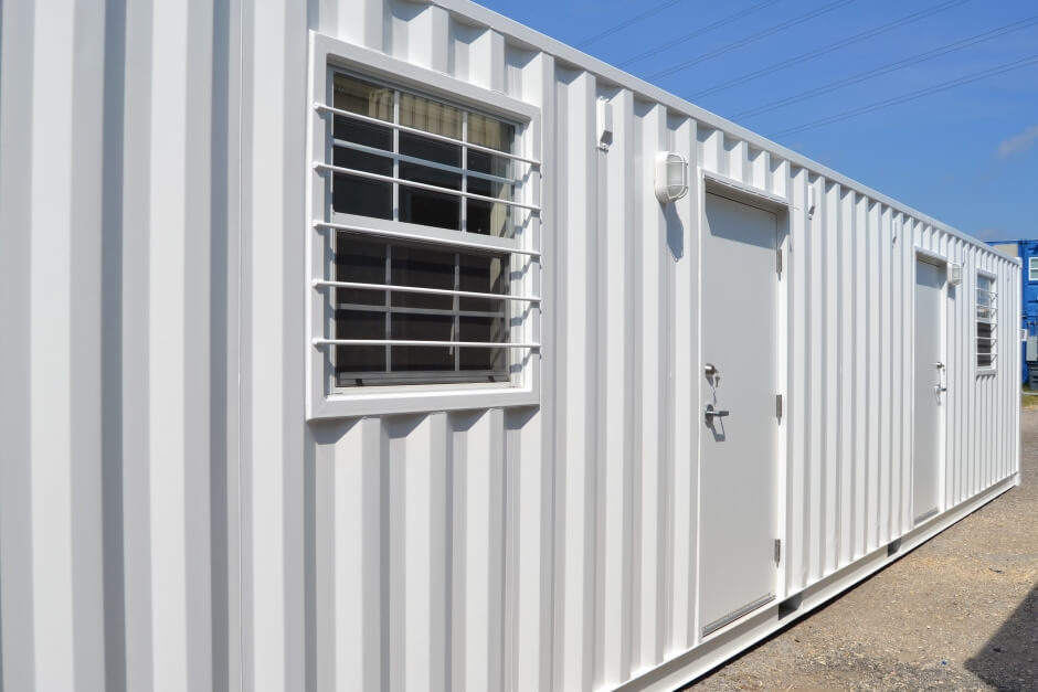 shipping container office with two doors and two windows