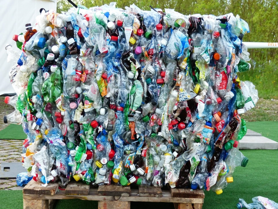 cube of recycled plastic water bottles