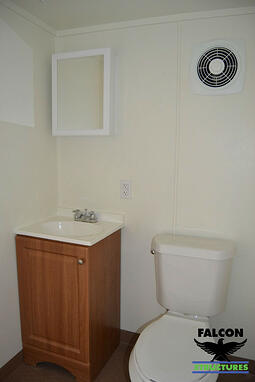 Interior of office with bathroom configuration