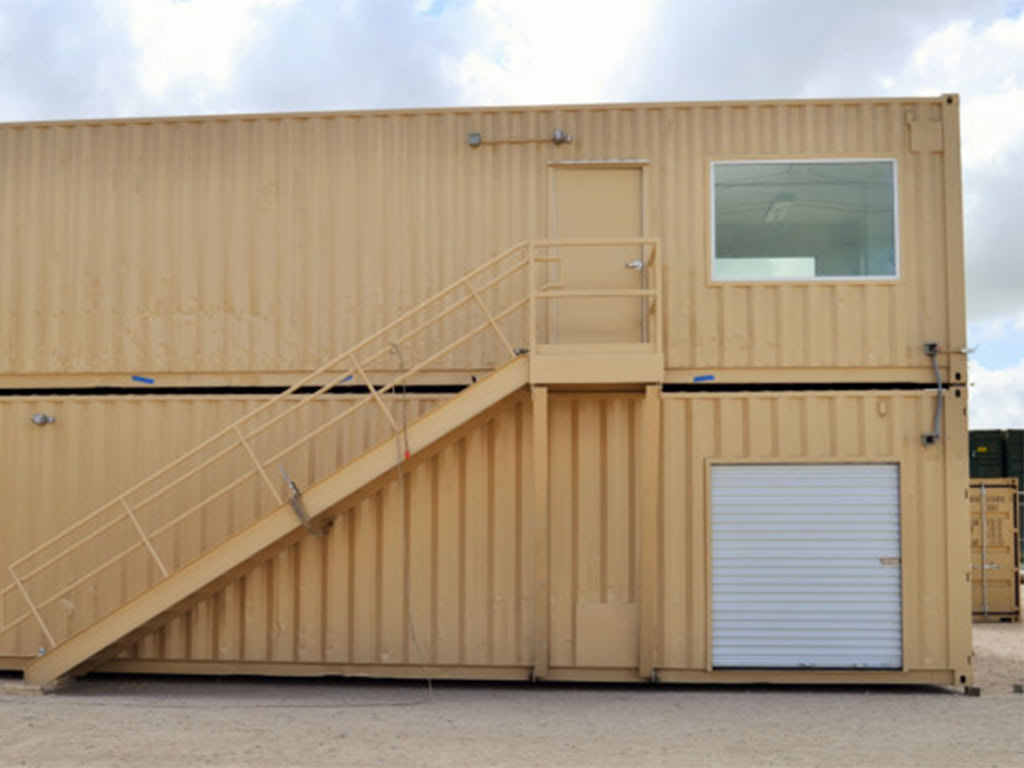 Stacked office containers with exterior stairs